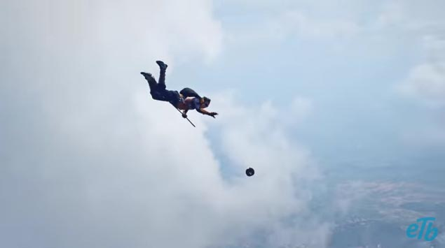 Colombian skydivers play quidditch
