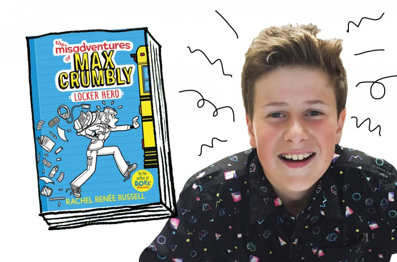 OWL reader Liam and the book The Misadventures of Max Crumbly: Locker Hero