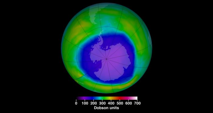 Ozone hole over the Antarctic is getting smaller