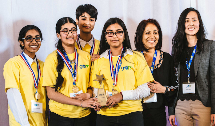 Grade 9 girls win tech award with Yellow Trillium app