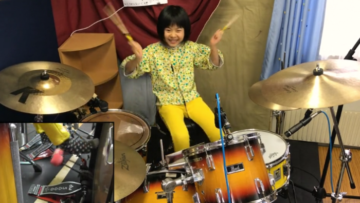 Watch eight year-old Yoyoka play drums like a boss