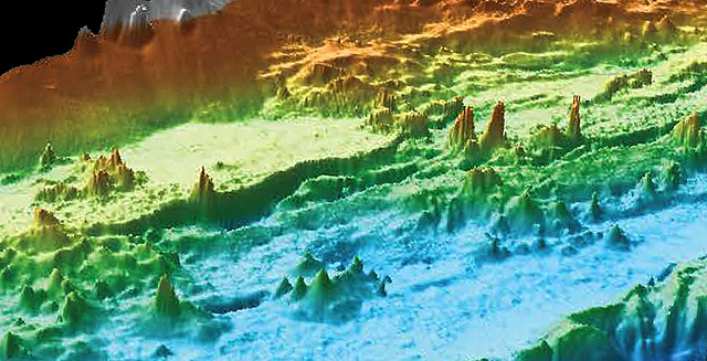 Hundreds of hydrothermal chimneys form seafloor cityscape
