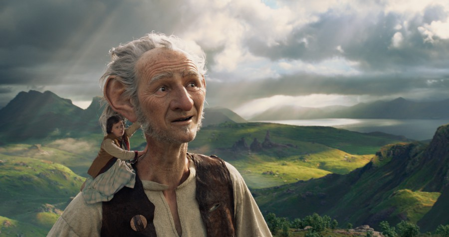 A scene from The BFG with the Big Friendly Giant and Sophie
