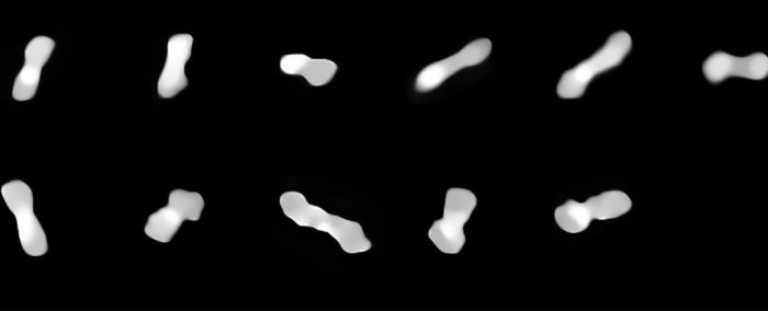 Woof! Is this dog-bone asteroid just a pile of rocks?